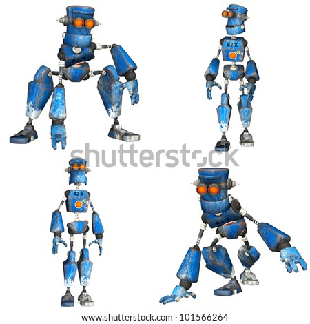 Illustration of a pack of four (4) blue robots with different poses isolated on a white background - 1of3 - stock photo