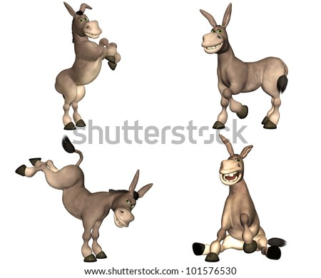 Illustration of a pack of four (4) cartoon donkeys with different poses and expressions isolated on a white background - 1of2