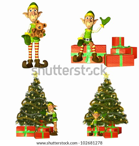 Illustration of a pack of four (4) christmas elves with different poses and expressions with trees and presents on a white background - stock photo