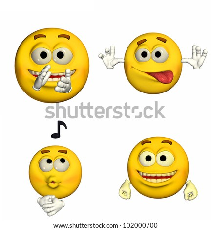 Illustration of a pack of four (4) emoticons / smileys with different poses and expressions isolated on a white background - 5of9 - stock photo