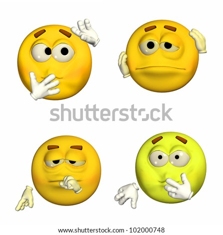 Illustration of a pack of four (4) emoticons / smileys with different poses and expressions isolated on a white background - 3of9 - stock photo