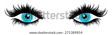 Illustration of a pair of female eyes with very long and full eyelashes - stock photo