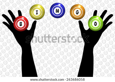 Illustration of a pair of hands and bingo balls - stock photo