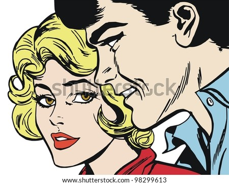 Illustration of a pair of lovers drawn in comic style