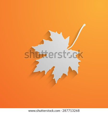 illustration of a paper 3d  maple leaf with shadow. autum - stock photo