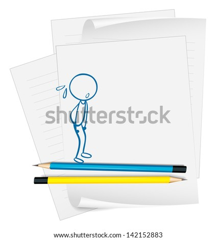 Illustration of a paper with a drawing of a boy sweating on a white background