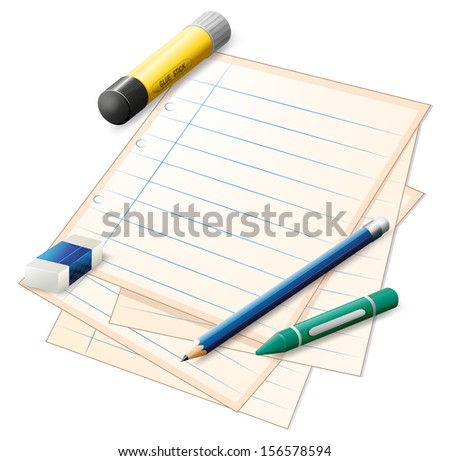 Illustration of a paper with a pencil, a crayon, an eraser and a glue stick on a white background