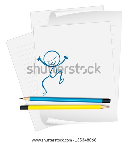 Illustration of a paper with a sketch of a happy boy jumping on a white background