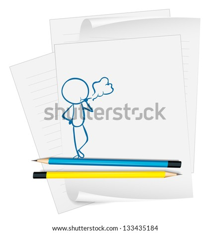 Illustration of a paper with a sketch of a man smoking on a white background