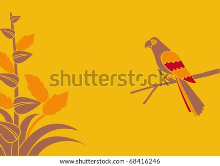 Illustration of a  parrot on a branch on a yellow background - stock photo