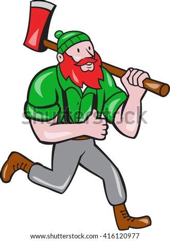 Illustration of a Paul Bunyan an American lumberjack sawyer forest carrying axe on shoulder running thumbs up set on isolated white background done in cartoon style.