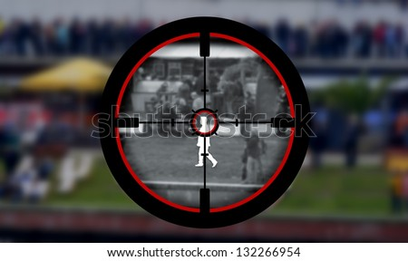 Illustration of a person being targeted by a sniper - stock photo
