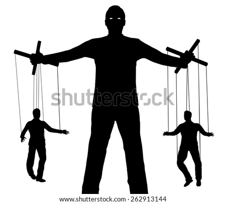 Illustration of a person controlling two puppets - stock photo