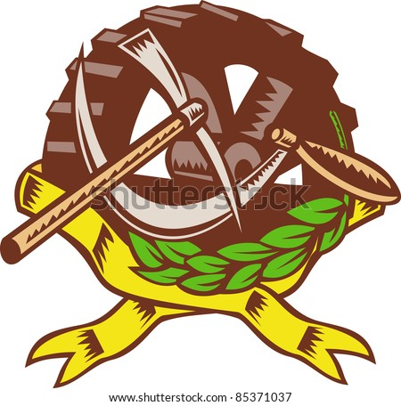 illustration of a pick ax with sickle cog gear in olive leaf ribbon in background. - stock photo