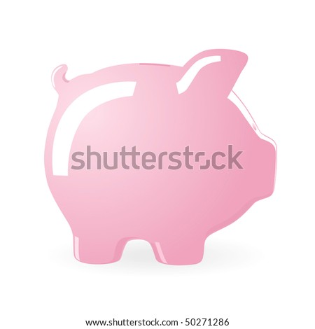Illustration of a Piggy bank isolated on white background - stock photo