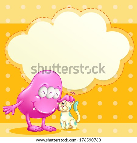 Illustration of a pink monster and a cat with an empty cloud template - stock photo