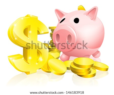 Illustration of a pink piggy bank with lots of gold coins and a big dollar sign or symbol - stock photo