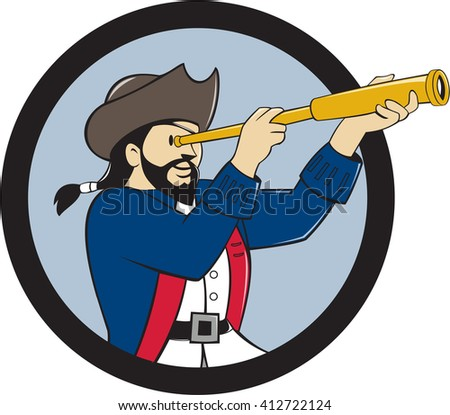 Illustration of a pirate looking into spyglass viewed from the side inside circle done in cartoon style.