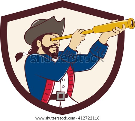Illustration of a pirate looking into spyglass viewed from the side set inside shield crest done in cartoon style.