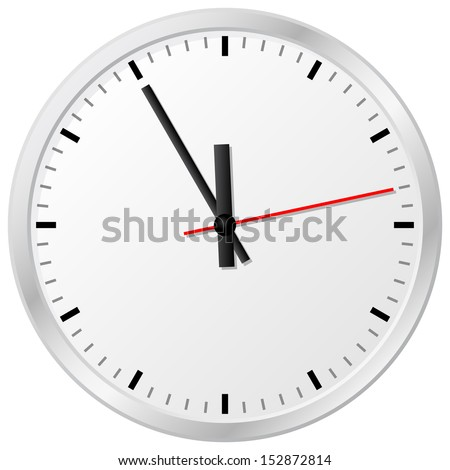 illustration of a plain wall clock in the eleventh hour