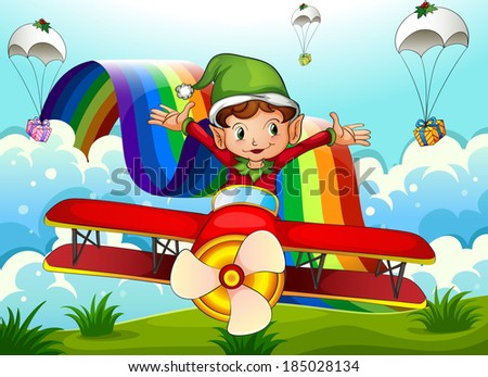Illustration of a plane with an elf and a rainbow in the sky with parachutes - stock photo