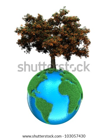 Illustration of a planet with a tree on a white background