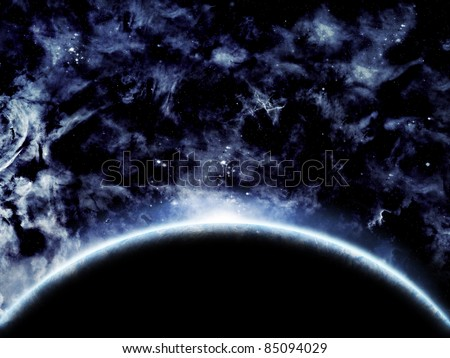 Illustration of a planet with sunrise in space