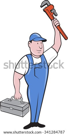 Illustration of a plumber holding monkey wrench standing raised up over head and carrying toolbox on the other hand looking to the side set on isolated white background done in cartoon style.