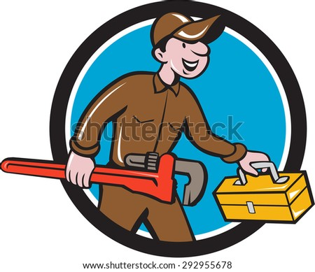 Illustration of a plumber in overalls and hat carrying monkey wrench and toolbox viewed from the side set inside circle on isolated background done in cartoon style.  - stock photo