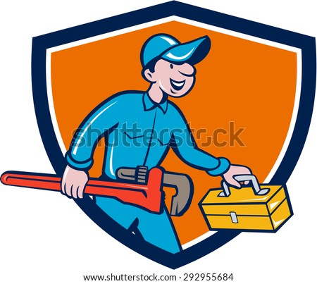 Illustration of a plumber in overalls and hat carrying monkey wrench and toolbox viewed from the side set inside shield crest on isolated background done in cartoon style.