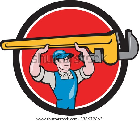 Illustration of a plumber in overalls and hat lifting giant monkey wrench over head looking to the side viewed from front set inside circle on isolated background done in cartoon style.