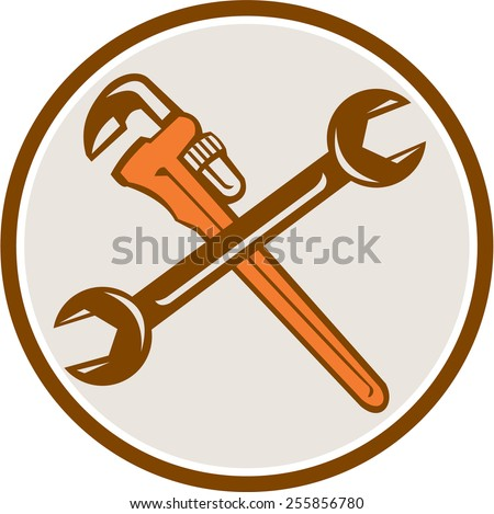 Illustration of a plumber's monkey wrench and mechanic's spanner crossed set inside circle on isolated white background done in retro woodcut style.