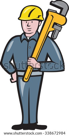 Illustration of a plumber wearing hardhat standing holding carrying monkey adjustable wrench on shoulder viewed from front side set on isolated white background done in cartoon style.