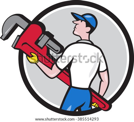 Illustration of a plumber wearing hat walking lifting giant monkey wrench looking to the side viewed from rear set inside circle on isolated background done in cartoon style.