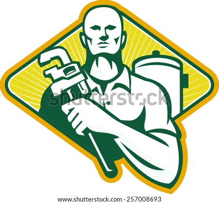 Illustration of a plumber with adjustable monkey wrench and hot water cylinder system set inside diamond shape done in retro style.
