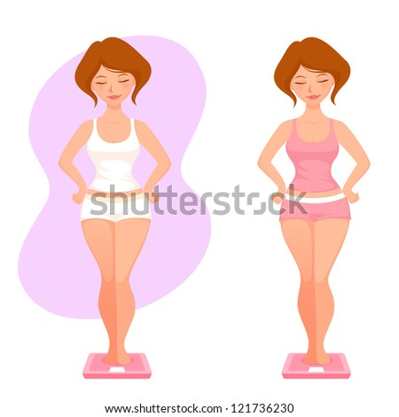 illustration of a plump cartoon girl checking her weight - stock photo