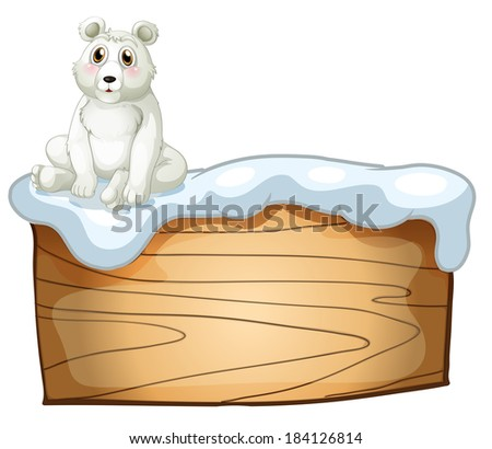 Illustration of a polar bear above an empty wooden board on a white background - stock photo