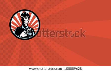 Illustration of a police officer policeman security guard holding a flashlight torch set inside circle done in retro style business card format - stock photo