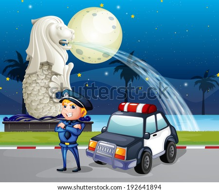 Illustration of a policeman and his patrol car near the statue of Merlion - stock photo