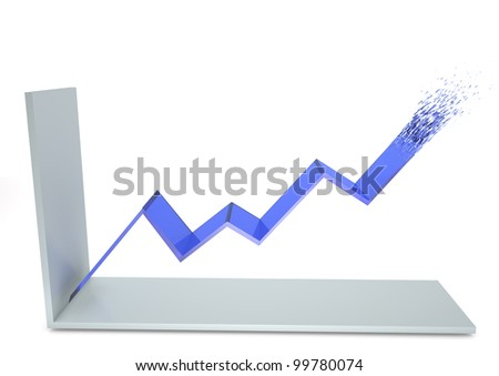 Illustration of a positive line graph exploding.