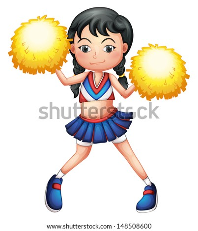 Illustration of a pretty cheerleader on a white background - stock photo