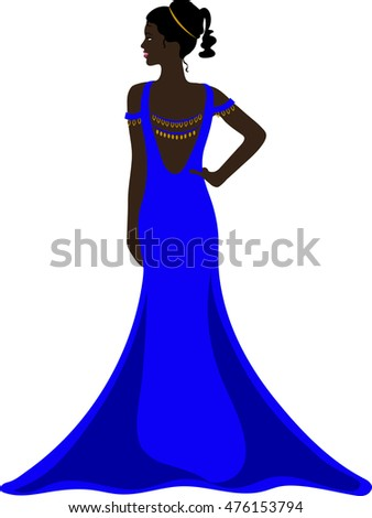 Illustration of a pretty ethnic woman wearing a purple evening gown with a plunging back.