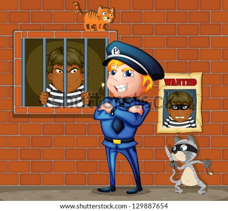 Illustration of a prisoner at the jail and the policeman - stock photo