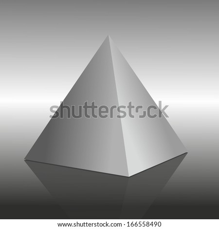 illustration of a pyramid on mirroring surface