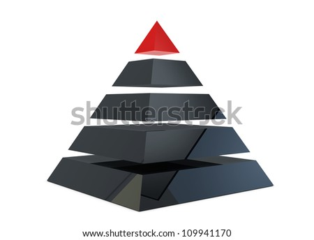 Illustration of a pyramid with five levels - stock photo