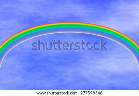Illustration of a rainbow design against a blue sky with white clouds for multi-purpose designs   - stock photo