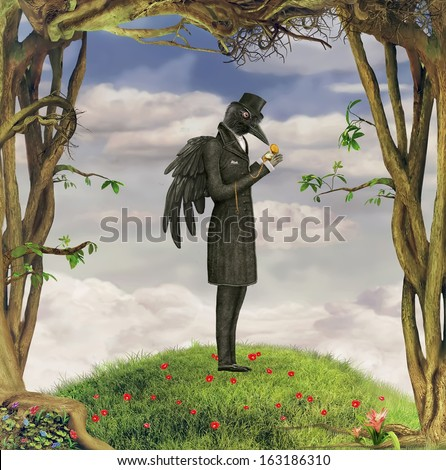 Illustration of a Raven in garden - stock photo