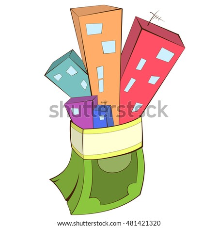 Illustration of a real estate concept - buying and selling house. Houses with money stack. Business concept illustration.