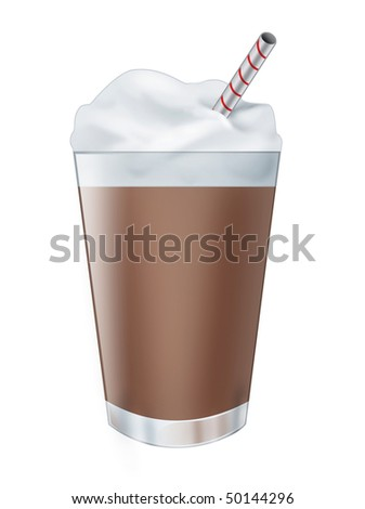 Illustration of a realistic chocolate milk shake drink, isolated on white background