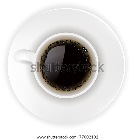 Illustration of a realistic cup of coffee on white background